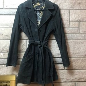 Dennis Basso Black Suede Leather Trench Coat